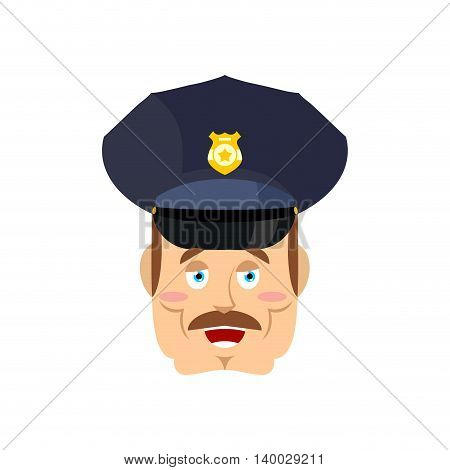 Good Friendly Cop. Happy Policeman. Funny Face Constable. Merry Officer Police
