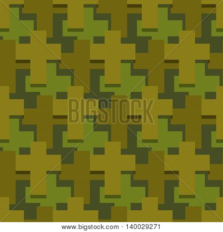 Military Cross Seamless Pattern. Army Abstract Religious Texture. Protective Ornament For Soldiers.