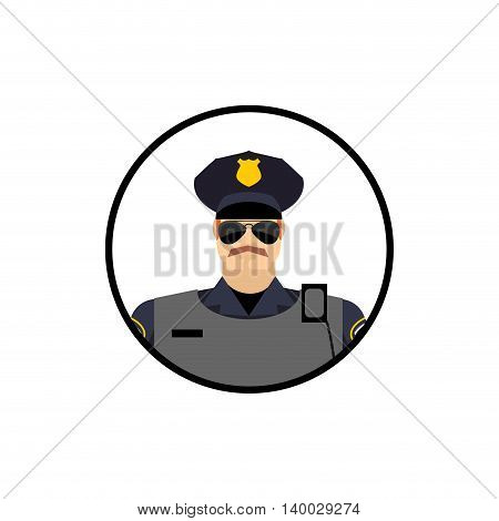 Police Avatar. Cop In Uniform. Head Police Officer In Circle.