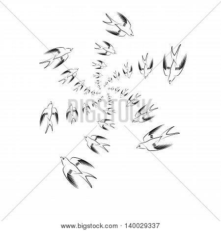 Flying Swallow Animal Pattern. Bird Geometric Background.