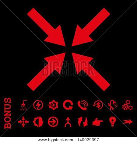 Center Arrows vector icon. Image style is a flat pictogram symbol, red color, black background.