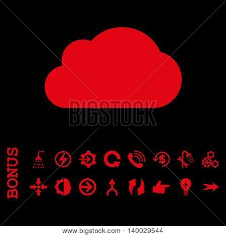 Cloud vector icon. Image style is a flat pictogram symbol, red color, black background.