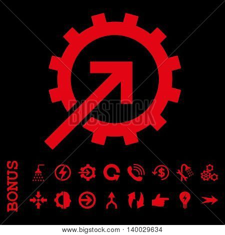 Cog Integration vector icon. Image style is a flat iconic symbol, red color, black background.