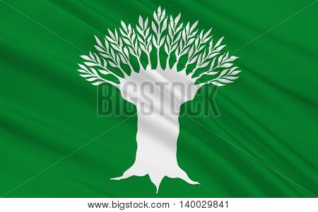 Flag of Wesel is a district in the northwestern part of North Rhine-Westphalia Germany. 3d illustration