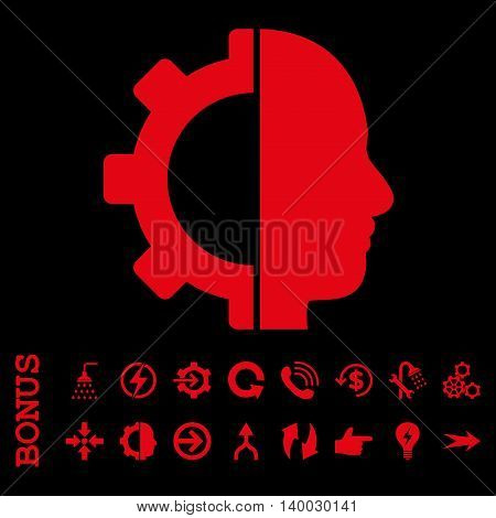 Cyborg Gear vector icon. Image style is a flat iconic symbol, red color, black background.