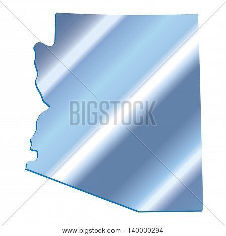 3D Arizona (USA) Iridium Blue outline map with shadow