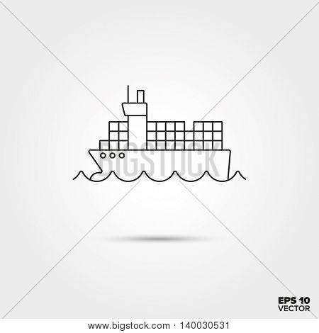 Container vessel Line Icon Vector