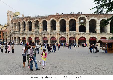 VERONA, ITALY - APRIL 26: Roman amphitheater on April 26, 2013 in Verona, Italy. The Verona Arena is a Roman amphitheater is one of most popular tourist attraction.