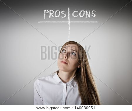 Woman in white is thinking. Pros and cons concept.