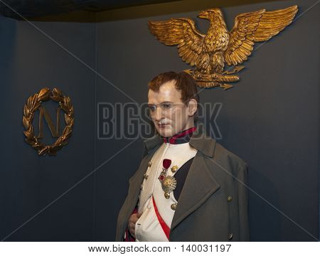 MADRID,SPAIN-MARCH 2016: Napoleon wax figure in Madame Tussauds  Museum