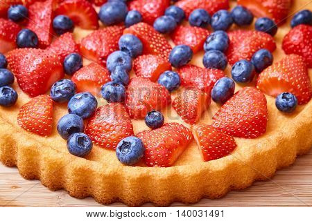 Fruit Cake With Straberries And Blueberries