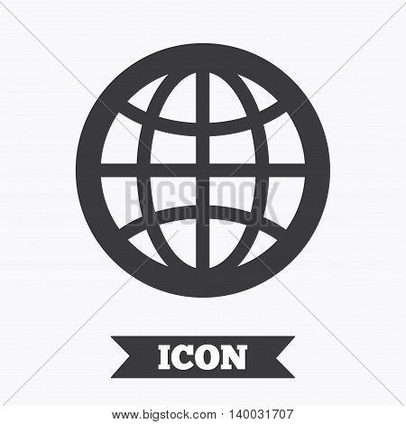 Globe sign icon. World symbol. Graphic design element. Flat internet symbol on white background. Vector