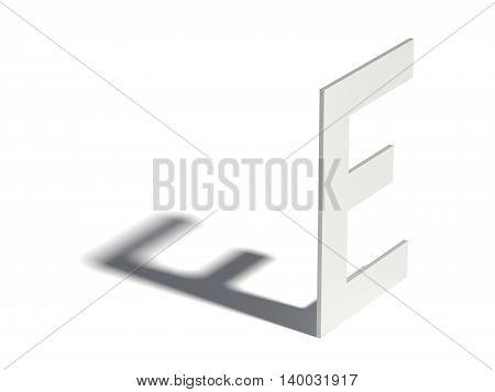 Drop Shadow Font. Letter E. 3D