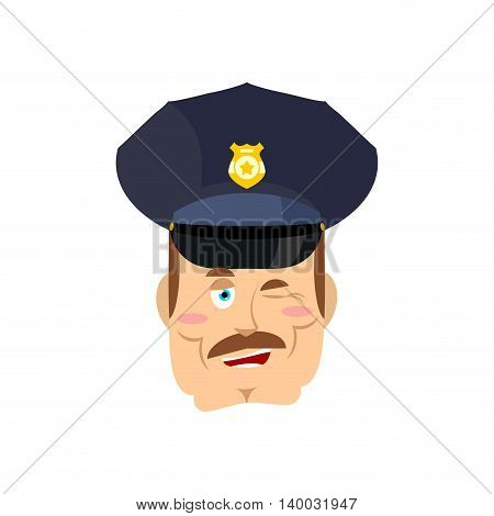 Policeman Winks. Good Cop. Mimicry Smile On Face Of Constable Police.