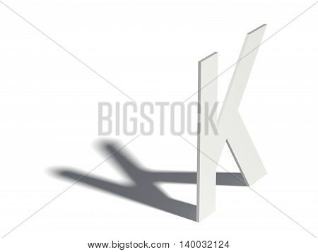 Drop Shadow Font. Letter K. 3D