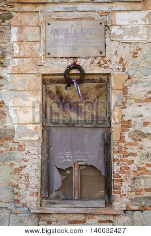 Old Window On Dilapidated School