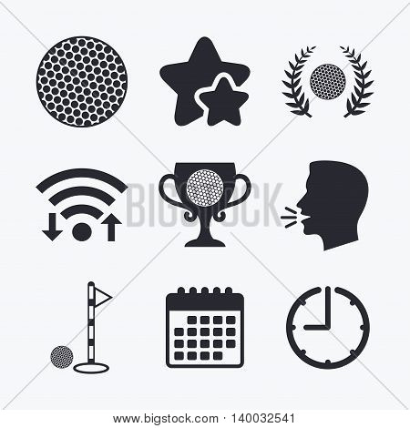 Golf ball icons. Laurel wreath winner award cup sign. Luxury sport symbol. Wifi internet, favorite stars, calendar and clock. Talking head. Vector