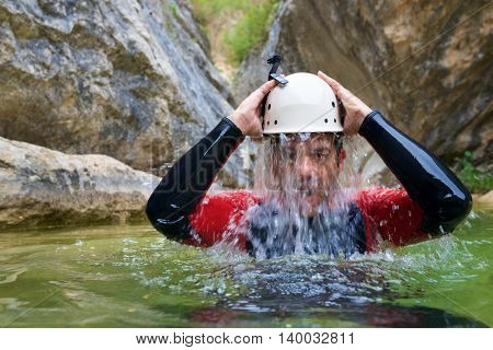 Canyoning in Carruaca Canyon, Guara Mountains, Huesca Province, Aragon, Spain.