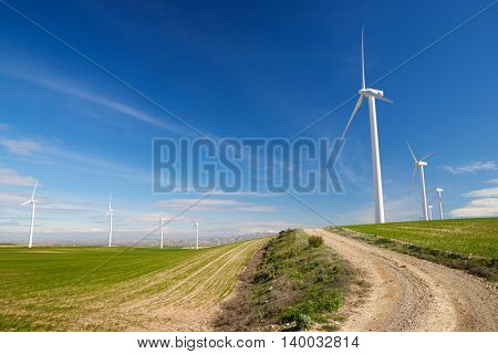 Windmills for electric power production, Zaragoza Province, Aragon, Spain.