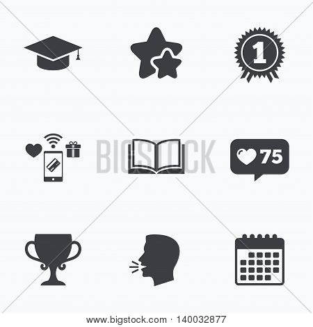 Graduation icons. Graduation student cap sign. Education book symbol. First place award. Winners cup. Flat talking head, calendar icons. Stars, like counter icons. Vector