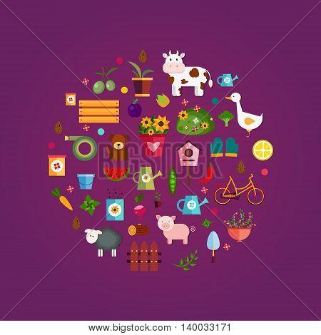 Vector farm life, purple background EPS 10.