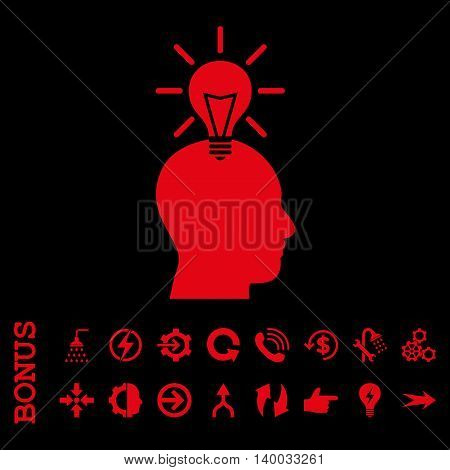 Genius Bulb vector icon. Image style is a flat iconic symbol, red color, black background.