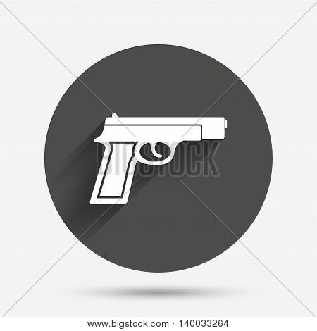 Gun sign icon. Firearms weapon symbol. Circle flat button with shadow. Vector