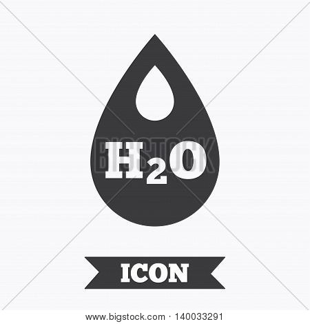 H2O Water drop sign icon. Tear symbol. Graphic design element. Flat water symbol on white background. Vector