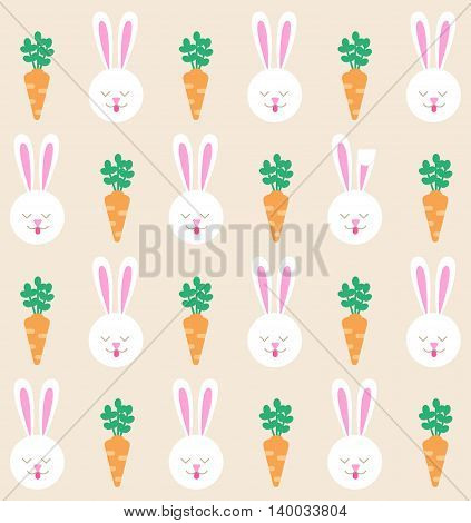 Seamless pattern with bunny and carrot. Rabbit pattern