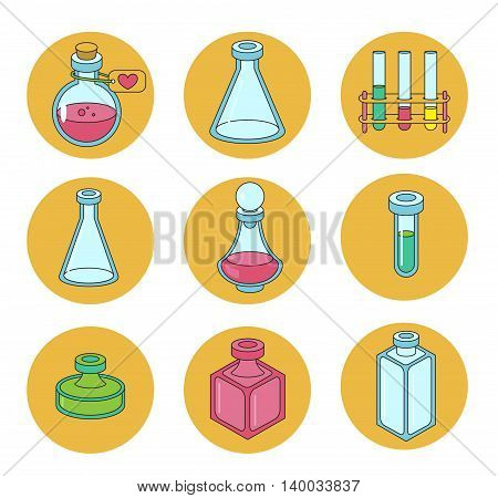 Set of apothecary and medical beakers laboratory flasks