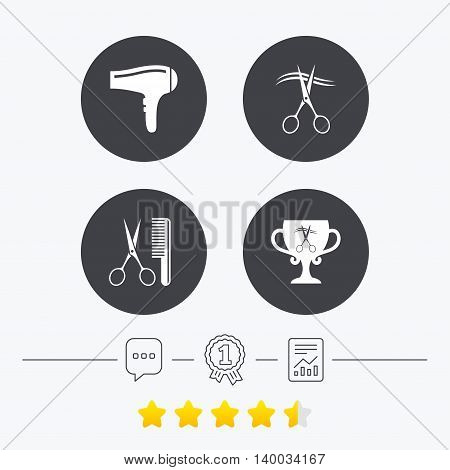 Hairdresser icons. Scissors cut hair symbol. Comb hair with hairdryer symbol. Barbershop winner award cup. Chat, award medal and report linear icons. Star vote ranking. Vector