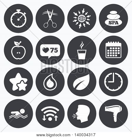 Calendar, wifi and clock symbols. Like counter, stars symbols. Spa, hairdressing icons. Swimming pool sign. Water drop, scissors and hairdryer symbols. Talking head, go to web symbols. Vector