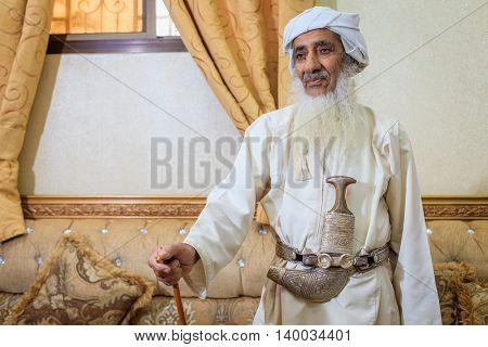 NIZWA, OMAN, MAY 27, 2016: Saif Al Saifi is one of the most experienced makers of traditional Omani halwa