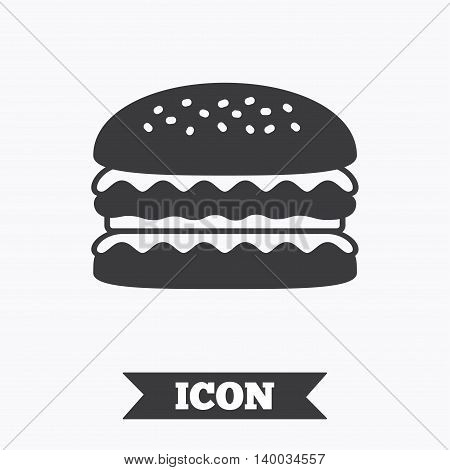 Hamburger icon. Burger food symbol. Cheeseburger sandwich sign. Graphic design element. Flat hamburger symbol on white background. Vector