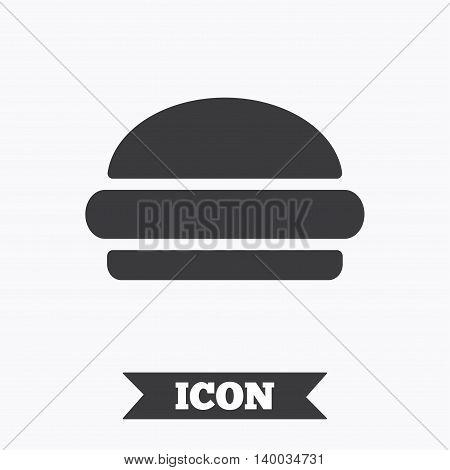 Hamburger sign icon. Fast food symbol. Junk food. Graphic design element. Flat hamburger symbol on white background. Vector