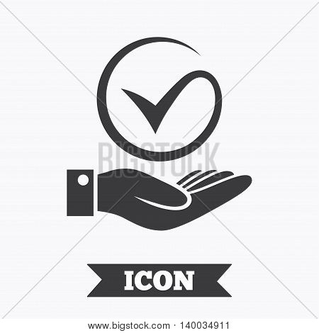 Tick and hand sign icon. Palm holds check mark symbol. Graphic design element. Flat hand check symbol on white background. Vector