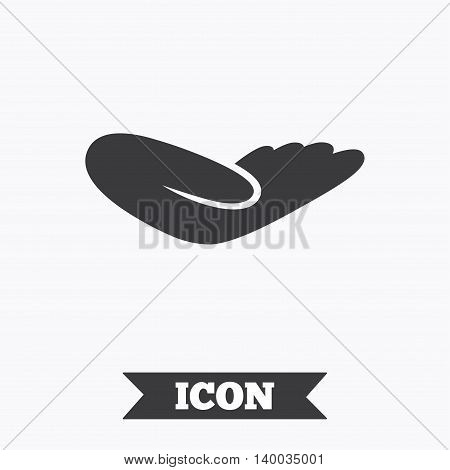 Donation hand sign icon. Charity or endowment symbol. Human helping hand palm. Graphic design element. Flat donation hand symbol on white background. Vector