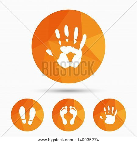 Hand and foot print icons. Imprint shoes and barefoot symbols. Stop do not enter sign. Triangular low poly buttons with shadow. Vector