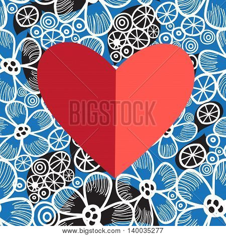 Holiday card decorative heart on bright floral background vector