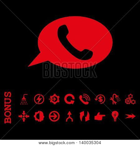 Phone Message vector icon. Image style is a flat iconic symbol, red color, black background.