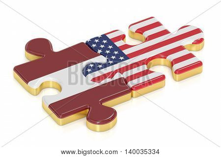 USA and Latvia puzzles from flags relation concept. 3D rendering