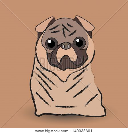 Mops little dog Vector illustration of a pug dog with bulging eyes who sits and looks at a host in pastel color