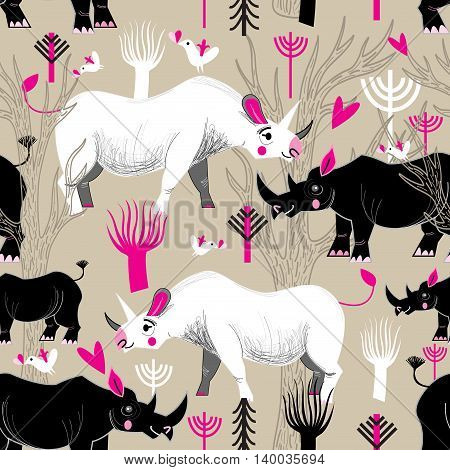 Seamless graphic pattern of rhinoceroses lovers in the forest, vector