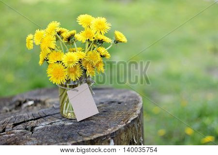 bunch of yellow dandelions with a card for the inscriptions it is worth in the bank on the old wooden stand / flower bouquet with a retro mood