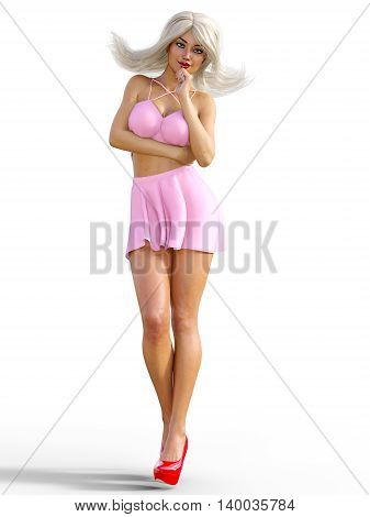 Sexy glamorous girl in pink skirt and red platform shoes. Blonde with bright makeup. Young beautiful woman in studio. Girl standing in candid provocative pose. Photorealistic 3D illustration. Isolate.