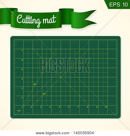 Cutting mat for quilting patchwork and craft vector illustration