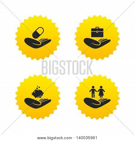Helping hands icons. Protection and insurance symbols. Financial money savings, health medical insurance. Human couple life sign. Yellow stars labels with flat icons. Vector