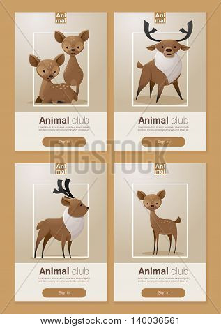 Animal banner with Deers for web design ,vector, illustration