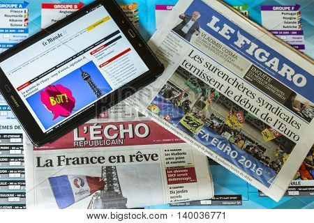 ChartresFrance - July 10 2016: In the morning of the first day of UEFA Euro 2016 major French newspapers publish both online and in print press various articles related to the competition which will be held in France between June 10 and July 10 2016.