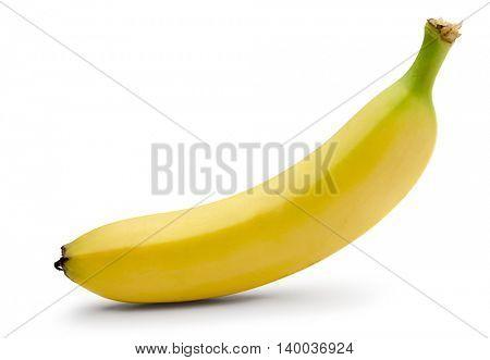 Single ripe banana isolated on white background.